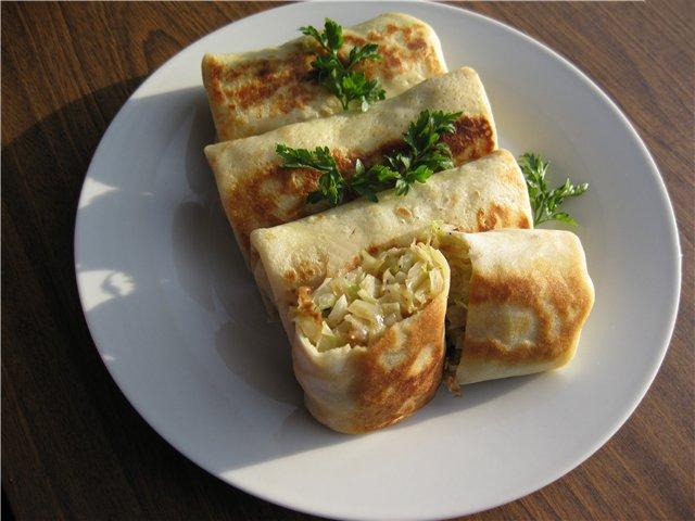 Рецепт Фаршировані млинці з молодою капустою