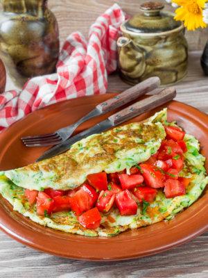 Рецепт Кабачковий омлет з сиром і помідором