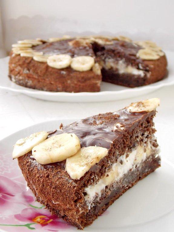3166 Рецепт Торт з шоколадно-банановим кремом