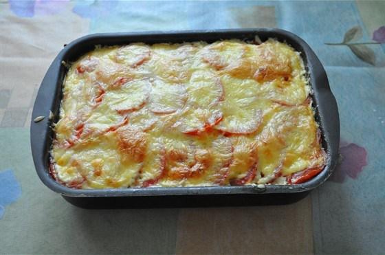 3258 Рецепт М'ясна запіканка з цукіні і помідорами